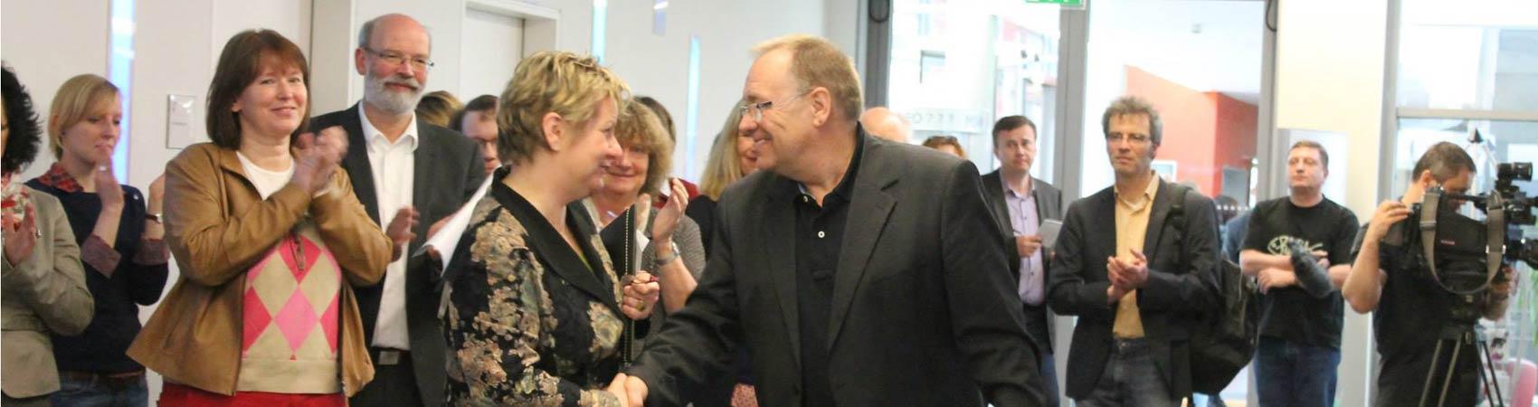 Bernd Schäfer (Schulleiter des RRBK), Sylvia Löhrmann (Ministerin Schule und Weiterbildung)